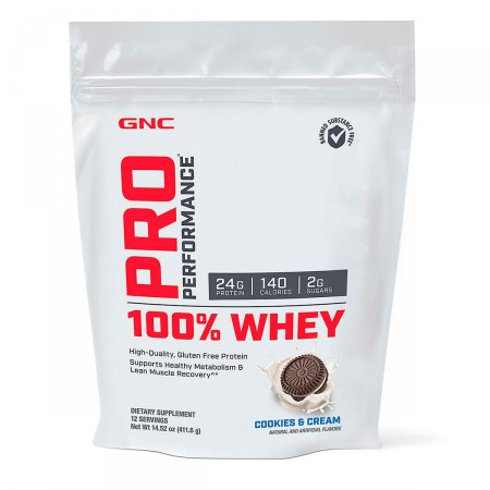 100% Whey GNC Pro Performance Sabor Cookies & Cream 411,6g | Drogasil.com