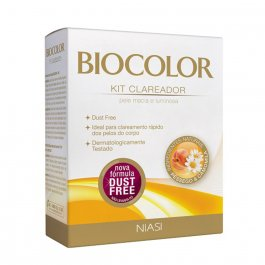Kit Clareador de Pelos Biocolor Pêssego e Camomila com 1 água oxigenada 12 volumes + 1 sachê de pó descolorante + 1 vasilha de plástico + 1 espátula