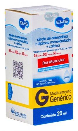 Citrato de Orfenadrina 35mg + Dipirona Sódica  300mg + Cafeína Anidra 50mg