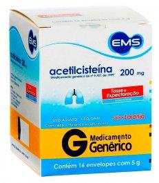 Acetilcisteína 200mg EMS com 16 envelopes de 5g