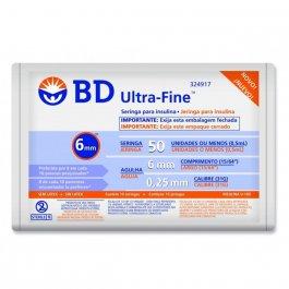 Seringa de Insulina BD Ultra-Fine 6mm 50UI com 10 unidades