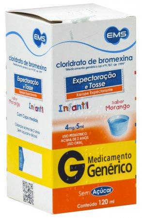 CLORIDRATO DE BROMEXINA 4MG/5ML EMS GENERICO XAROPE PED 120ML