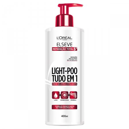 ELSEVE LIGHT POO CREME DE LIMPEZA REPARACAO TOTAL 5 400ML