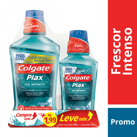 PLAX ICE ENXAGUANTE BUCAL INFINITY LEVE 500 PAGUE 350 + 1,99 LEVE PLAX ICE 250ML