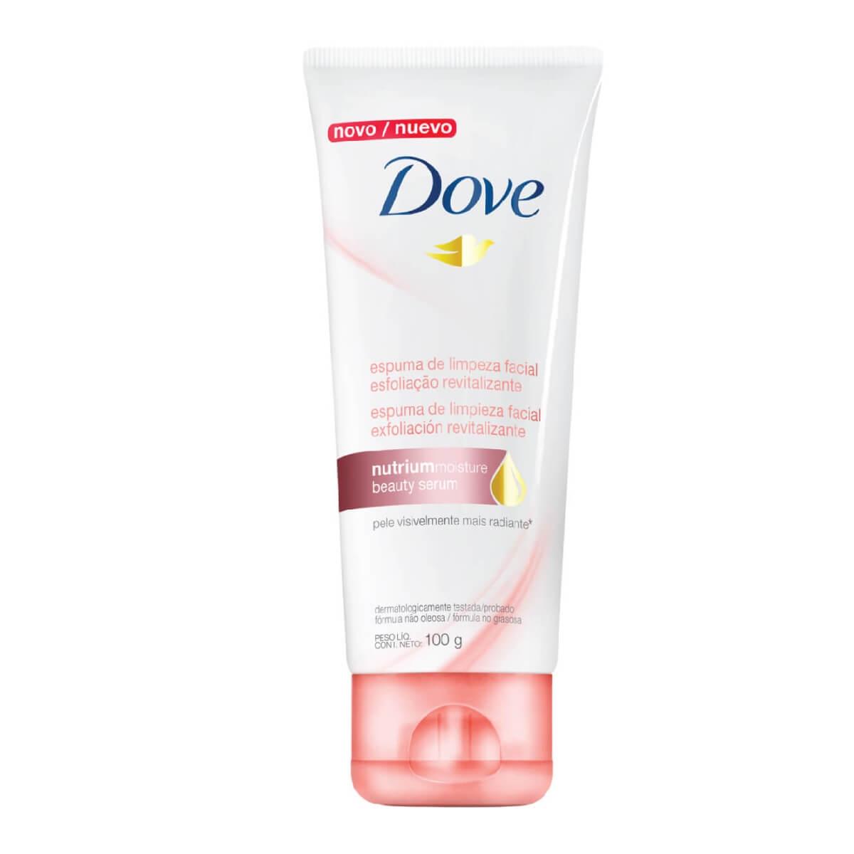 Espuma de Limpeza Dove Esfoliação Revitalizante Facial Nutrium Moisture Beauty Serum 100g