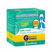 ACETILCISTEINA 600 MG EUROFARMA GENERICO 16 ENVELOPES