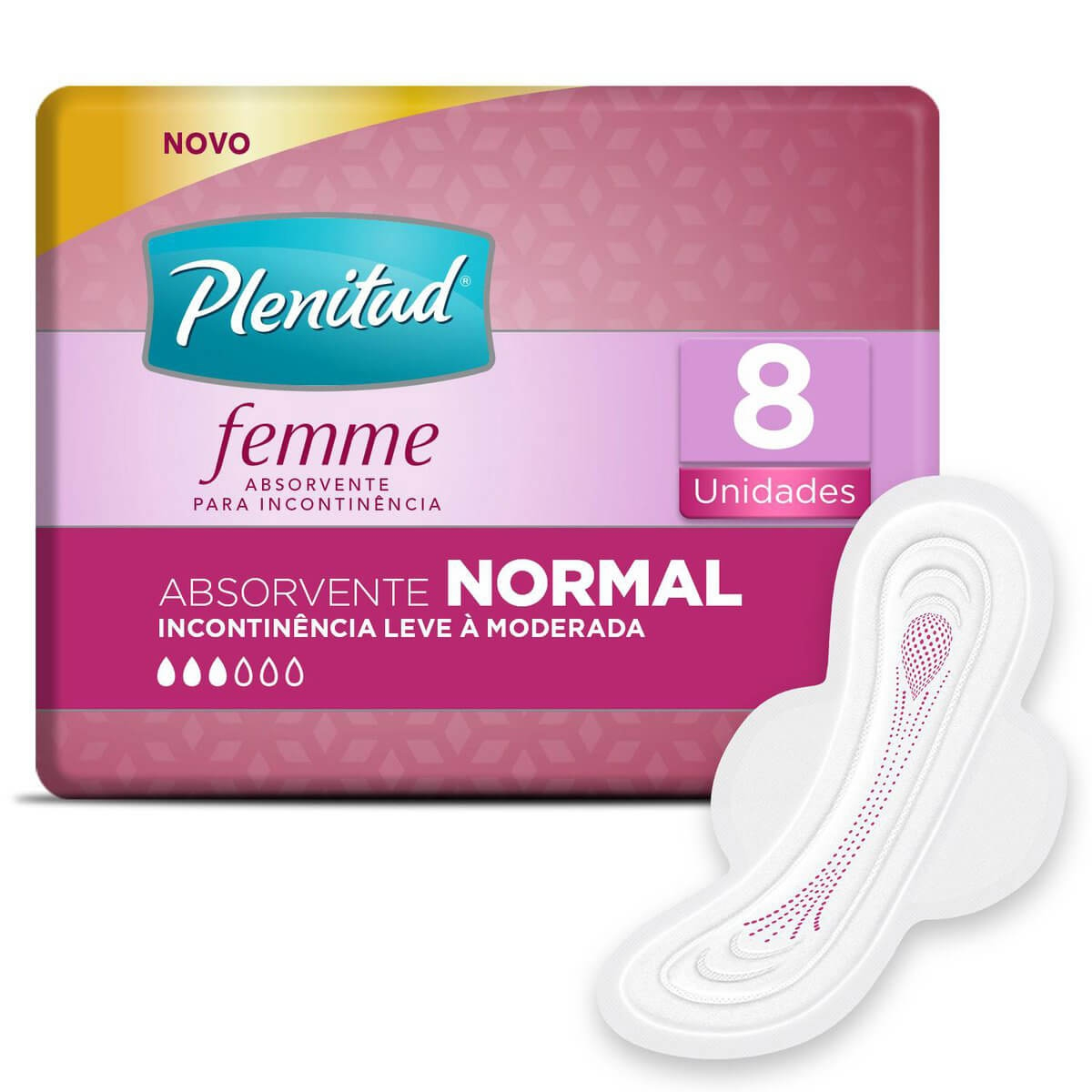 Absorvente Plenitud Femme Normal com Abas 8 Unidades