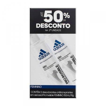 Kit Desodorante Aerossol Adidas Invisible Feminino