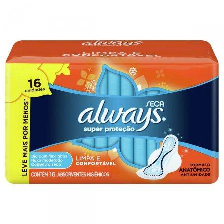 Absorvente Always Super Proteção Cobertura Seca com Abas