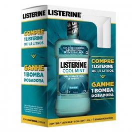 Enxaguante Antisséptico Bucal Listerine Cool Mint com 1,5L + Bomba Dosadora
