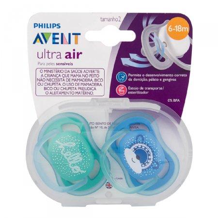 Chupetas Avent Ultra Air Azul E Verde Dupla 6-18m