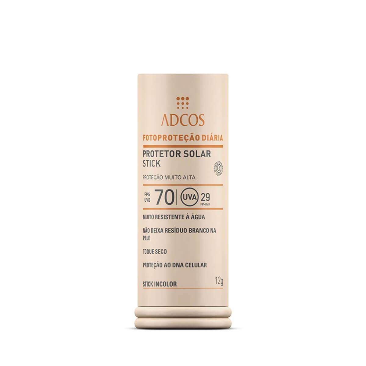 Protetor Solar Facial Stick Adcos Base Bastão Incolor FPS 70 com 12g 12g