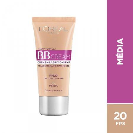Base BB Cream L'Oréal Paris 5 em 1 FPS20 Média