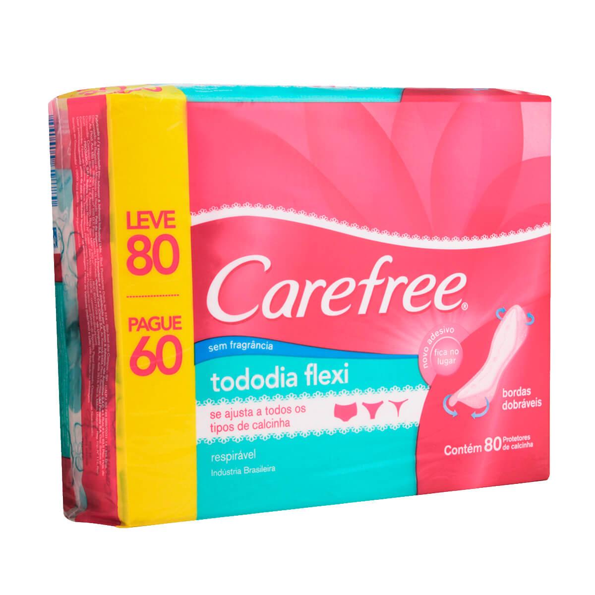 Carefree TodoDia Flexi Protetor Diário Sem Perfume com 80 unidades 1 Unidade