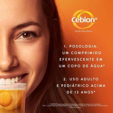 Cebion Vitamina C 1g Sabor Laranja 30 Comprimidos | Drogasil.com Foto 5