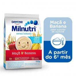 Cereal Infantil Milnutri Sabor Banana e Maçã Zero Açúcar com 150g