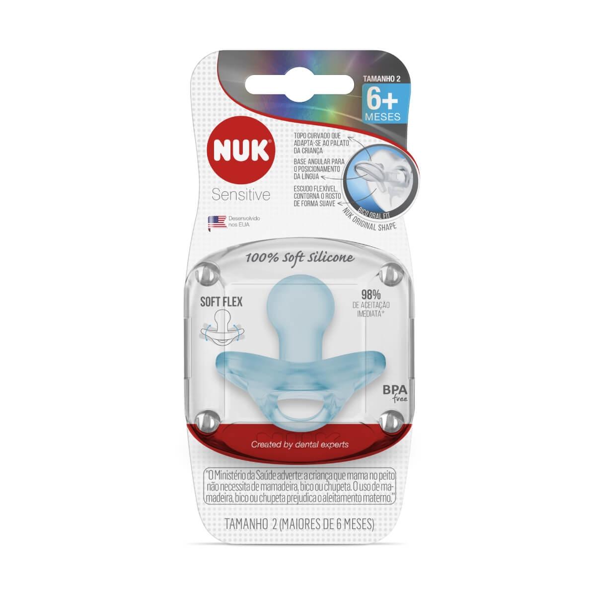 Chupeta Nuk Sensitive 100% Soft Silicone Tamanho 2 Azul 1 Unidade