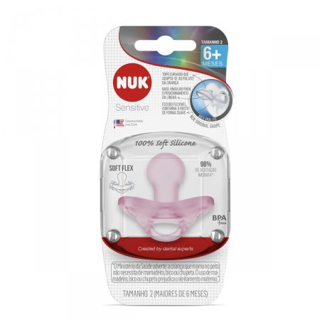 Chupeta Nuk Sensitive 100% Soft Silicone Tamanho 2 Rosa