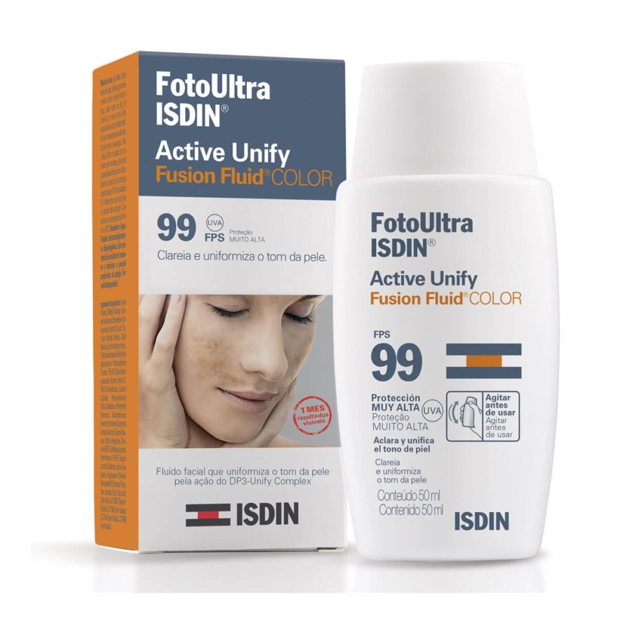 Clareador Facial Isdin FotoUltra Active Unify Fusion Fluid Color FPS 99 com 50ml 50ml