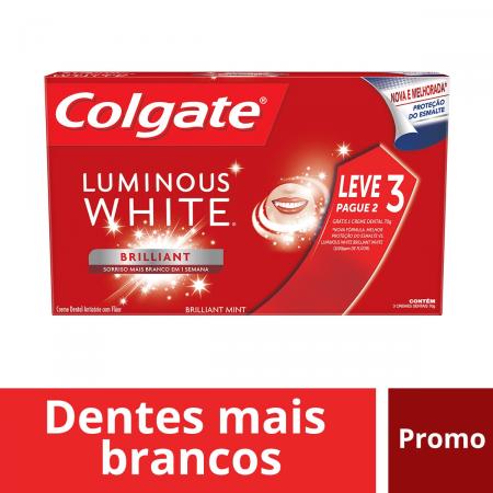 COLGATE CREME DENTAL LUMINOUS WHITE 70G LEVE 3 PAGUE 2