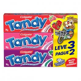 Kit Pasta de Dente Infantil Colgate Tandy com 3 unidades de 50g