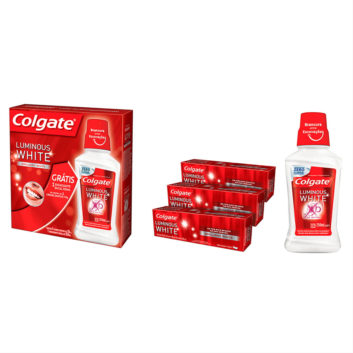 Drogasil Kit Creme Dental Colgate Luminous White Gratis Enxaguante