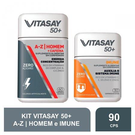 Compre 1 Suplemento Alimentar Vitasay 50+ Homem A-Z + Cafeína 60 Comprimidos e Ganhe 1 Suplemento Alimentar Vitasay 50+ Imune 30 Comprimidos