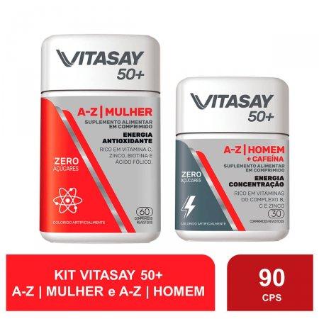 Compre 1 Suplemento Alimentar Vitasay 50+ Mulher A-Z 60 Comprimidos e Ganhe 1 Suplemento Alimentar Vitasay 50+ Homem  A-Z + Cafeína 30 Comprimidos
