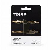 Conjunto de Grampo para Cabelo Triss Formato Geométrico Dourado com 2 unidades