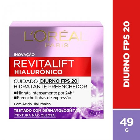 Creme Facial Anti-Idade L'Oréal Paris Revitalift Hialurônico Diurno FPS20 com 49g