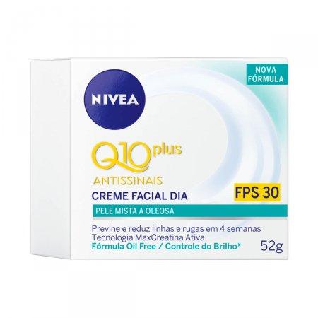 Creme Facial Antissinais Dia Nivea Q10 Plus Pele Mista a Oleosa FPS30