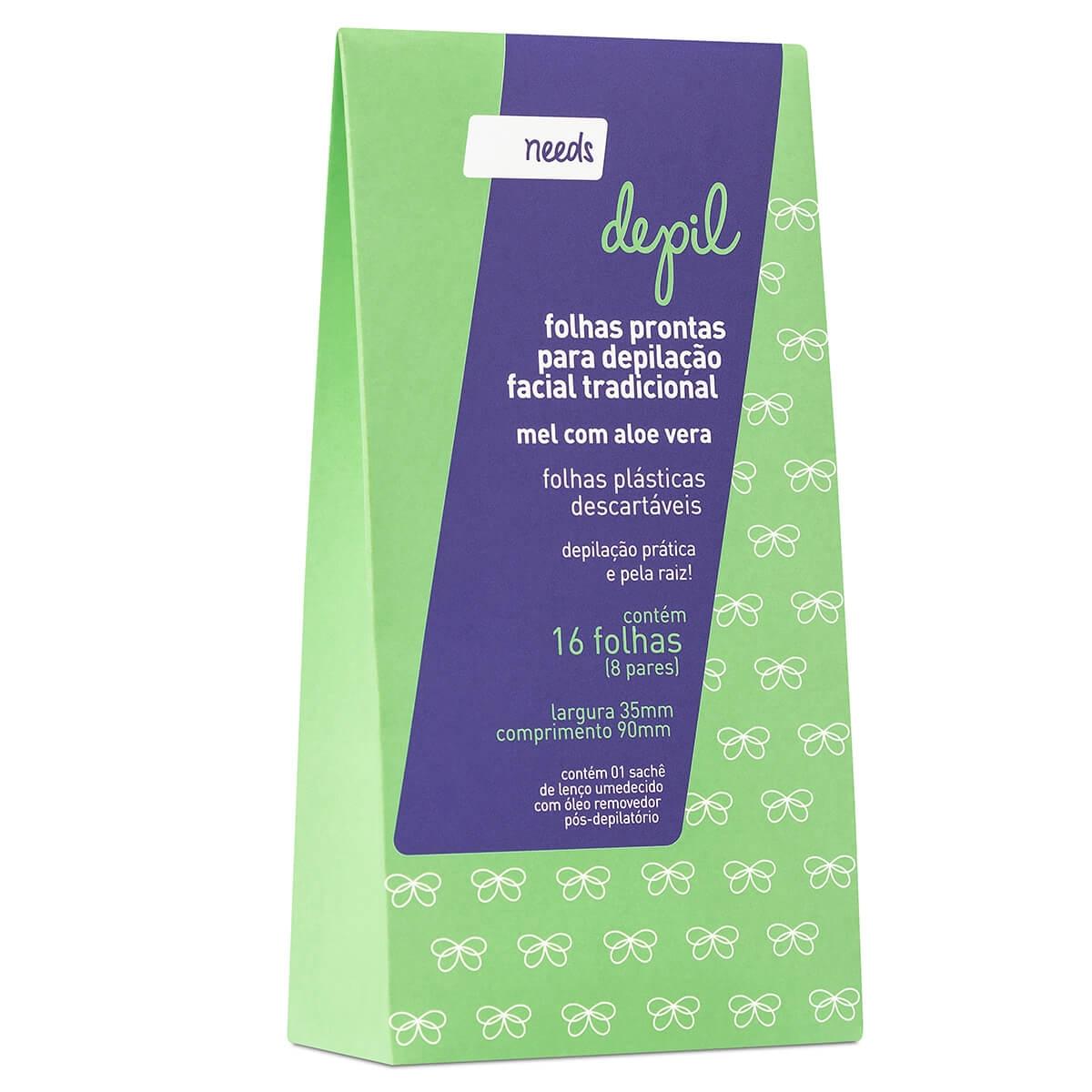 Folhas Prontas para Depilação Facial Needs Mel com Aloe Vera 16 Unidades