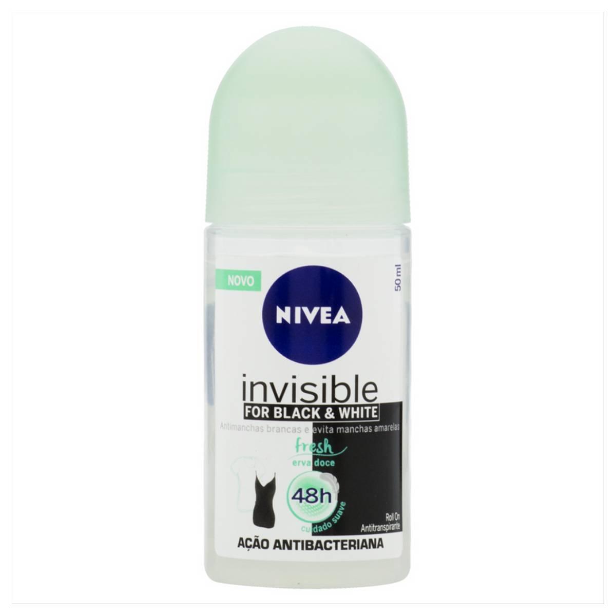 Desodorante Antitranspirante Roll On Nivea Invisible Black e White Fresh 50ml