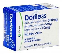Doriless 500mg + 5mg + 10mg com 12 comprimidos