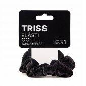 Elástico para Cabelo Triss Scrunchie de Veludo Cor Preta com 1 unidade