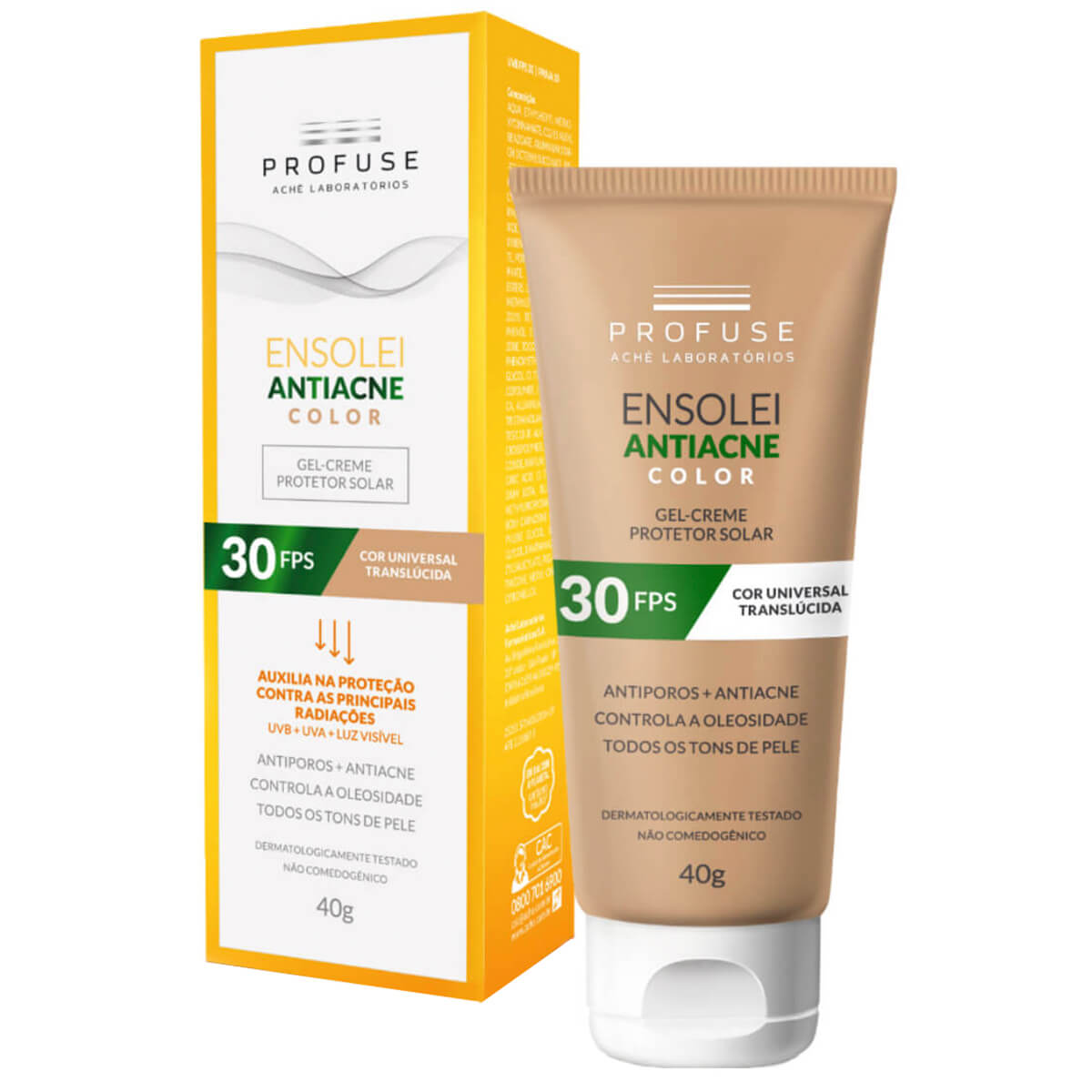 Protetor Solar Facial Profuse Ensolei Antiacne Color FPS 30 com 40g 40g