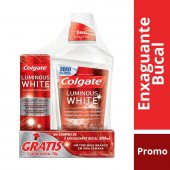 COLGATE LUMINOUS WHITE ENXAGUANTE BUCAL 500ML GRATIS CREME DENTAL LUMINOUS WHITE 70G