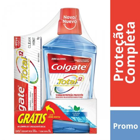 COLGATE TOTAL 12 ENXAGUANTE BUCAL CLEAN MINT 500ML GRATIS CREME DENTAL TOTAL 12 90G