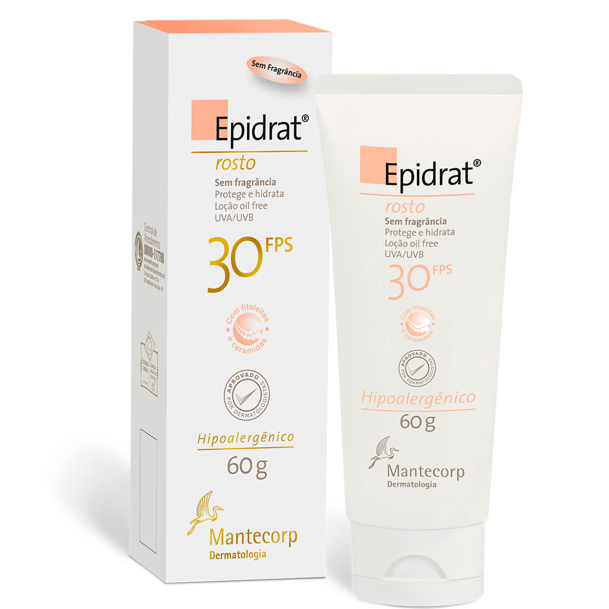 Hidratante Facial Mate Epidrat Mat Mantecorp com Cor Clara FPS 30 com 40ml 60g