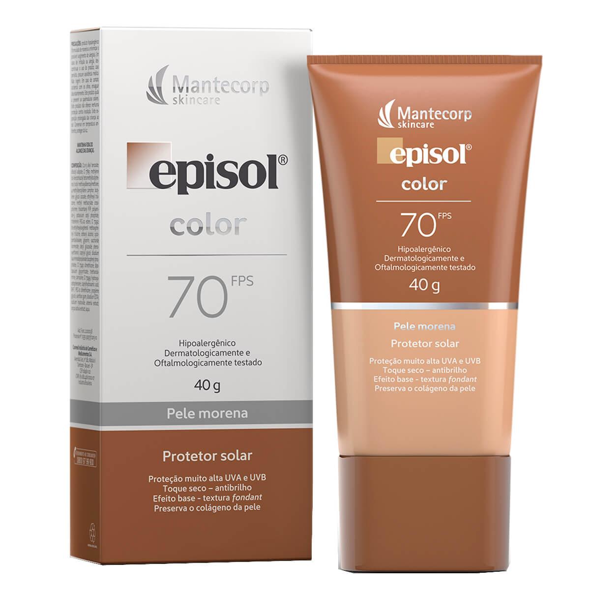 Protetor Solar Facial Com Cor Episol Color Pele Morena FPS 70 com 40g 40g