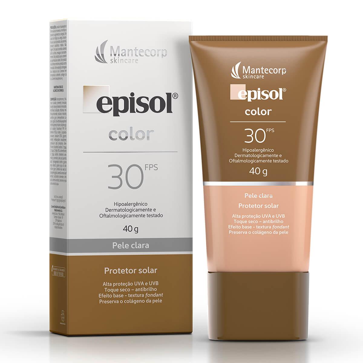 Protetor Solar Facial Episol Com Cor Pele Clara FPS 30 com 40g 40g