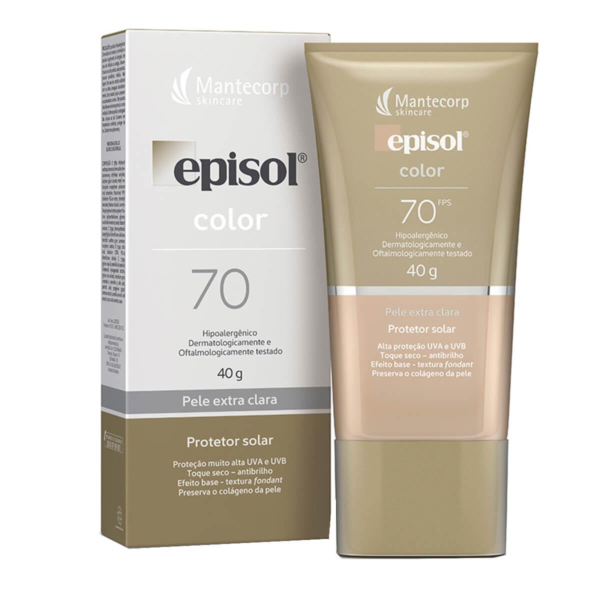 Protetor Solar Facial Episol Color Pele Extra Clara FPS 70 com 40g 40g