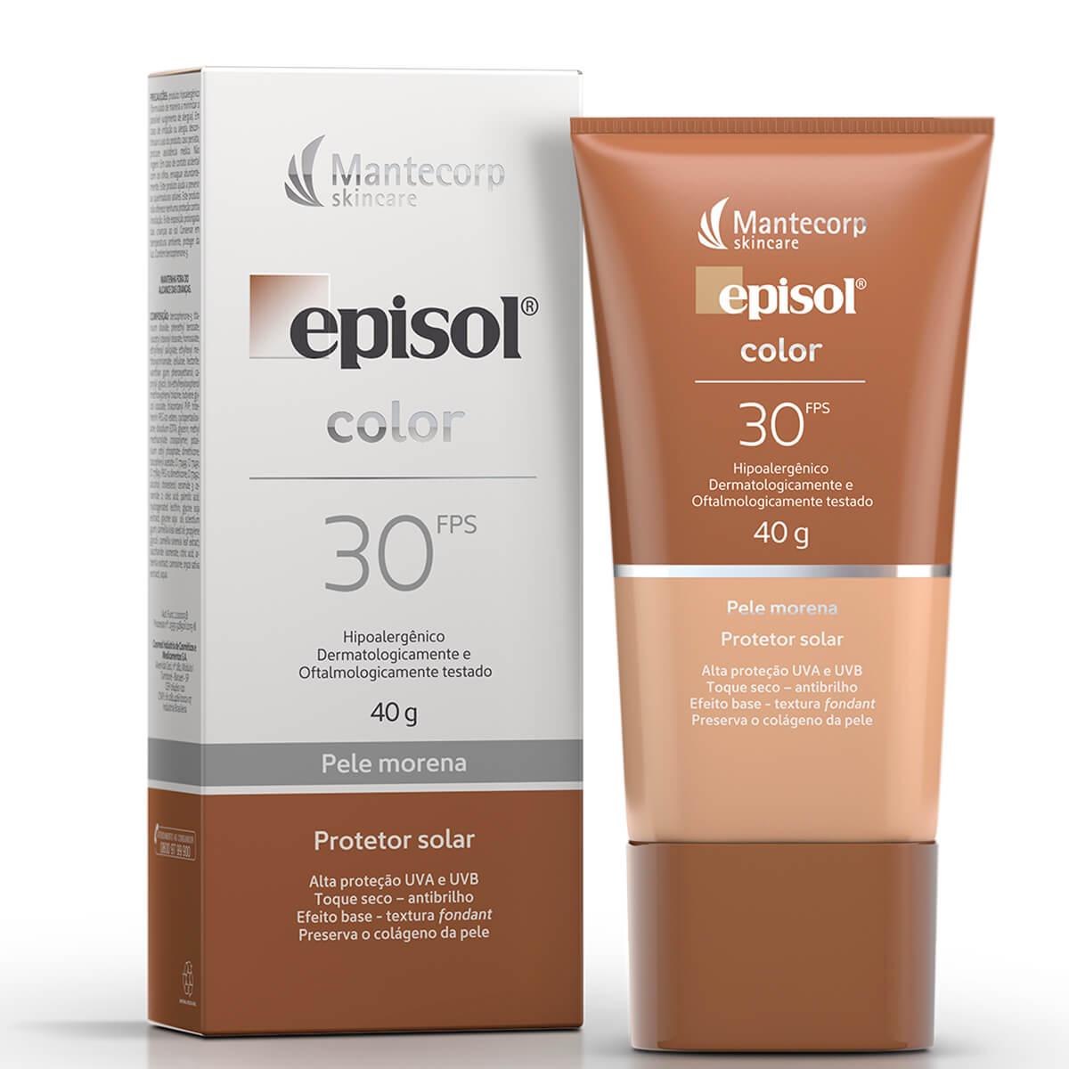 Protetor Solar Facial Episol Color Pele Morena FPS 30 com 40g 40g