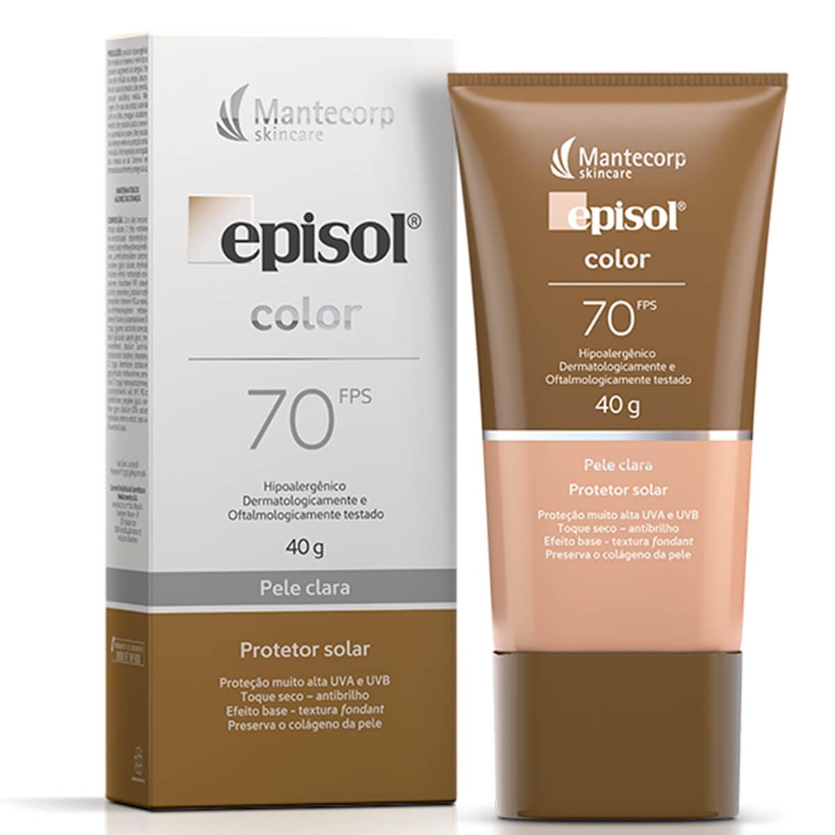 Protetor Solar Episol Color FPS 70 Facial Pele Clara com 40g 40g