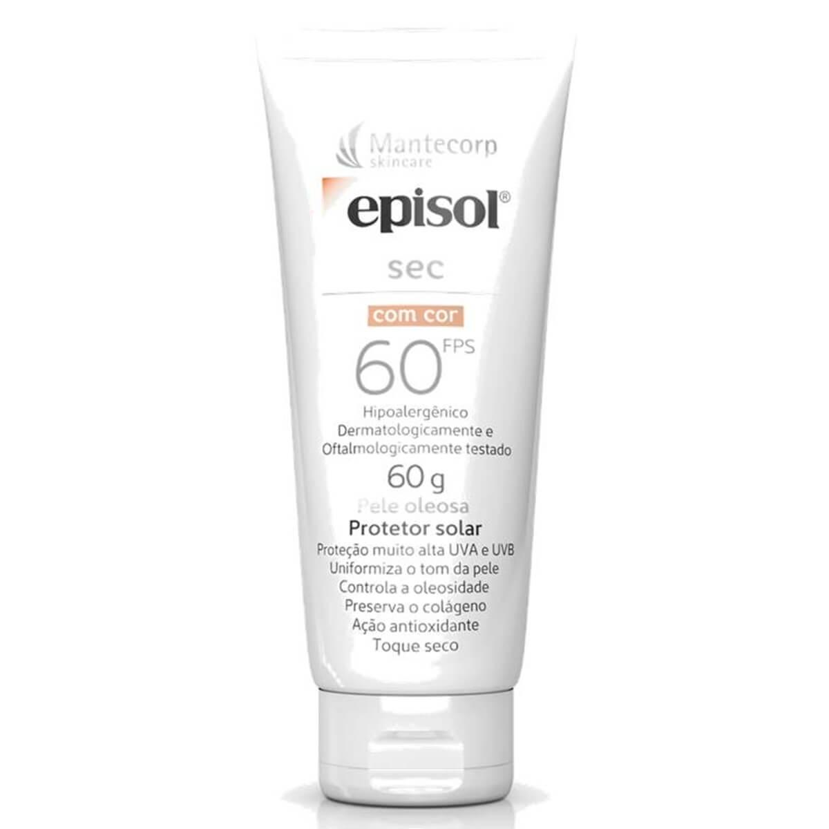 Protetor Solar Facial Episol Sec com Cor Pele Oleosa FPS 60 com 60g 60g