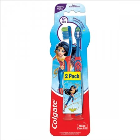 Escova Dental Infantil Colgate Smiles 6+ Mulher Maravilha & Batman