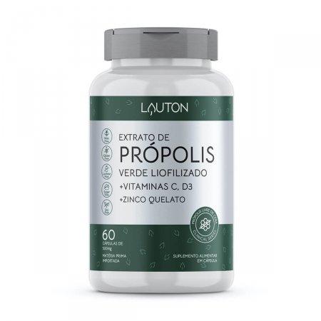 Extrato de Própolis Verde Liofilizado + Vitamina C + D3 + Zinco com 60 Cápsulas Lauton   Drogasil.com
