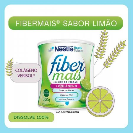 Fiber Mais Colágeno Mix de Fibras Limão 300g Foto 2