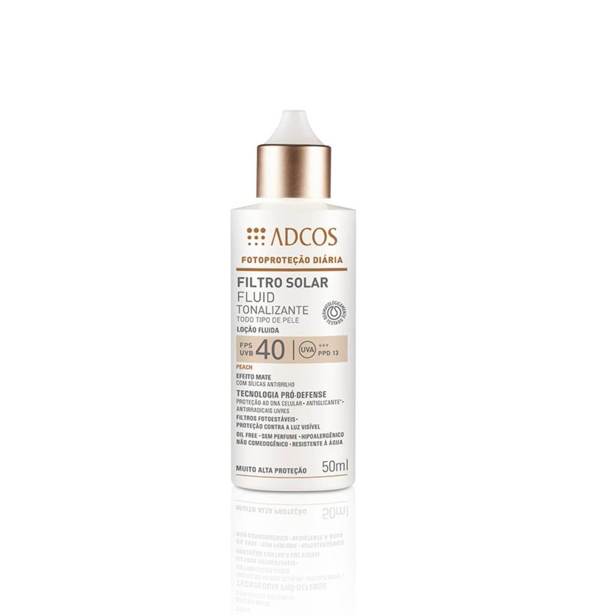 Protetor Solar Facial Adcos Fotoproteção Fluido Tonalizante Peach FPS 40 50ml