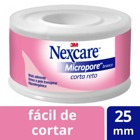 Fita Micropore Nexcare Corta Reto 25mm x 4,5m